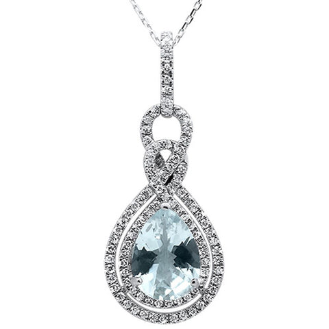 3.23cts 10k White Gold Pear Shape Aquamarine & Diamond Pendant 18""