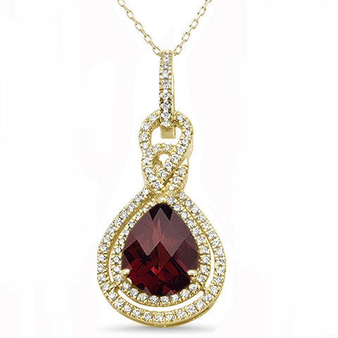 4.72ct 10k Yellow Gold Pear Shape Garnet Diamond Pendant 18""