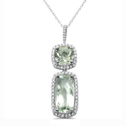 6.73cts 10k White Gold Cushion Green Amethyst & Diamond Pendant 18""