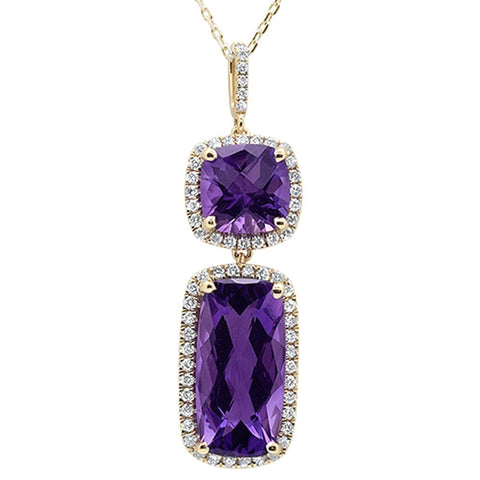 7.30ct 10k Yellow Gold Cushion Amethyst Diamond Pendant 18""