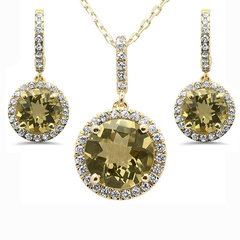 4.67cts 10k Yellow Gold Round Olive & Diamond Earring & Pendant Set 18""