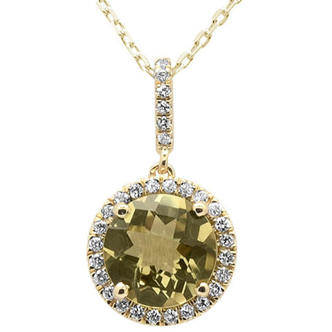 1.92cts 10k Yellow Gold Round Olive & Diamond Pendant 18""
