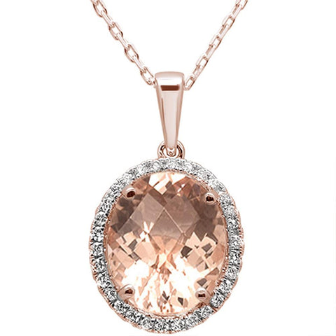 3.94cts 10k Rose Gold Oval Morganite  & Diamond Pendant 18""