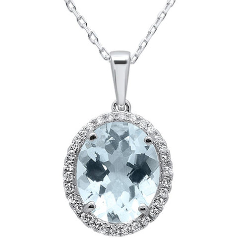 3.52cts 10k White Gold Oval Aquamarine & Diamond Pendant 18""