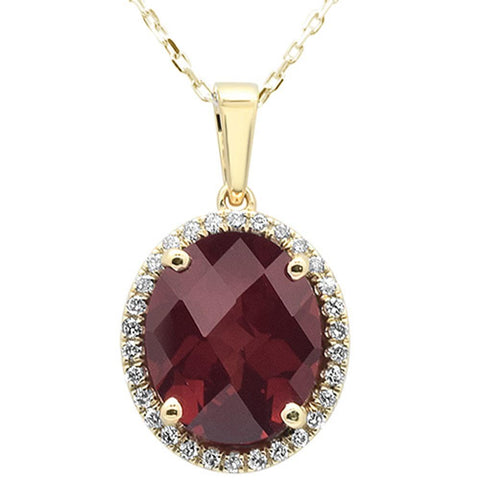 5.32cts 10k Yellow Gold Oval Garnet & Diamond Pendant 18""