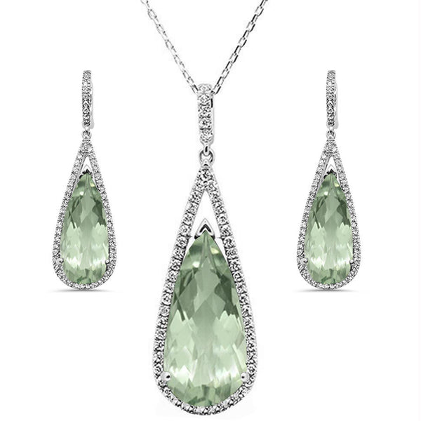 22.99cts 10k White Gold Pear Green Amethyst & Diamond Earring & Pendant Set 18""