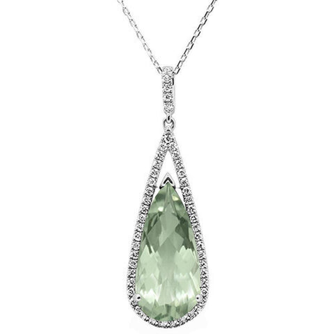 <span>GEMSTONE CLOSEOUT! </span>7.55ct 10k White Gold Green Amethyst & Diamond Pendant Necklace 18""