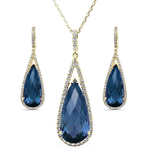 28.09cts 10k Yellow Gold Pear Blue Topaz & Diamond Earring & Pendant Set 18""