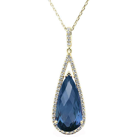9.29ct 10k Yellow Gold Blue Topaz & Diamond Pendant Necklace 18""