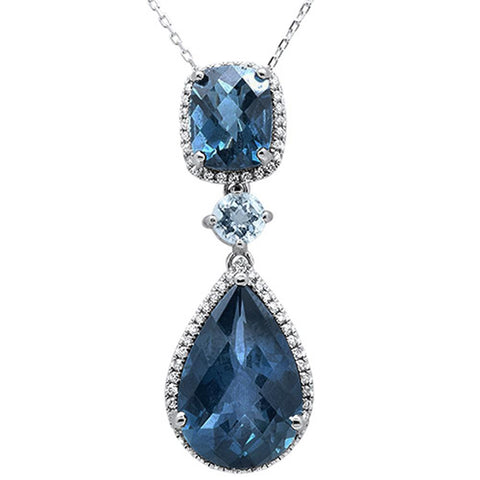 15.17cts 10k White Gold Blue Topaz & Diamond Pendant 18""