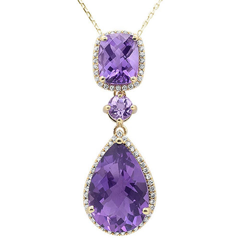11.69cts 10k Yellow Gold Amethyst & Diamond Pendant 18""