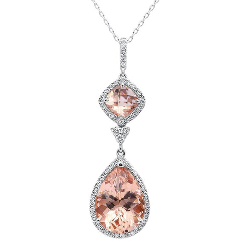5.52ct 14k White Gold Pear & Cushion Morganite Diamond Pendant 18""