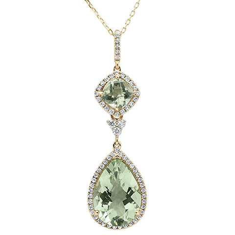 6.19ct 14k Yellow Gold Pear & Cushion Green Amethyst Diamond Pendant 18""