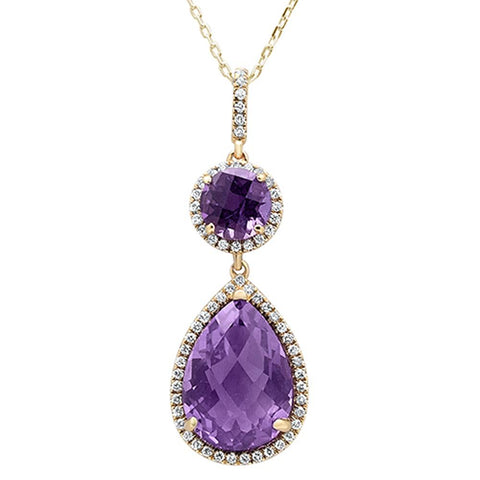 6.03ct 14k Yellow Gold Pear & Round Amethyst Diamond Pendant 18""