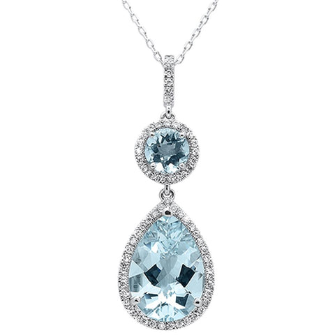 4.85ct 14k White Gold Pear & Round Aquamarine Diamond Pendant 18""