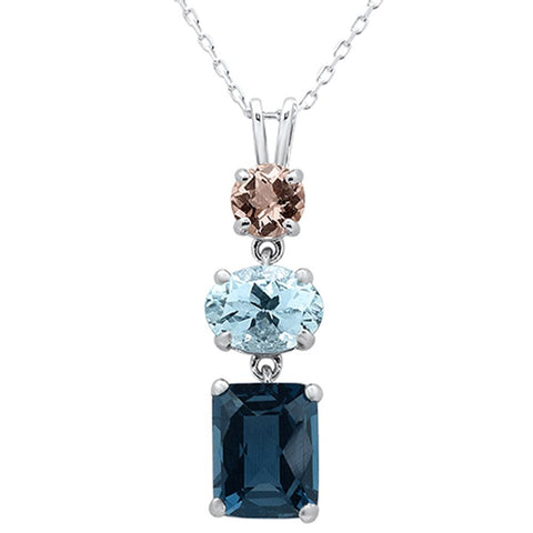 4.17ct 10k White Gold Oval Aquamarine, Topaz & Diamond Pendant 18""