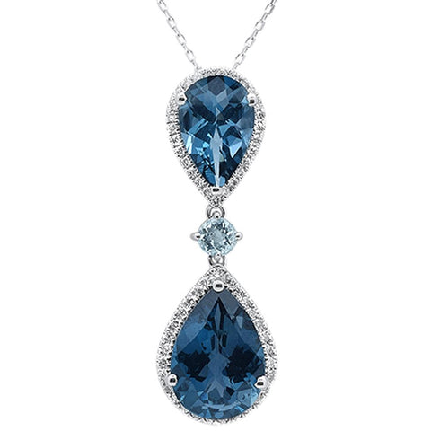 8.79ct 10k White Gold Pear Shape Blue Topaz Diamond Pendant 18""