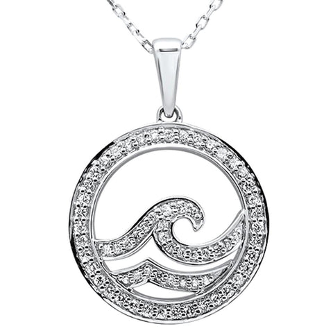 ".33ct 14k White Gold Diamond Ocean Wave Pendant Necklace 18"" Long"