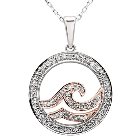 ".33ct 14k Two Tone Gold Diamond Wave Ocean Pendant Necklace 18"" Long"