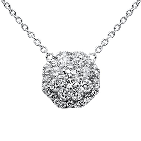 ".59ct 14k White Gold Diamond Flower Cluster Solitaire Necklace 18"" Long"