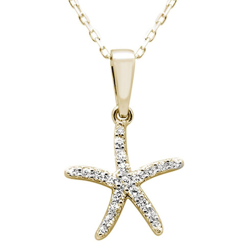".14ct 14k Yellow Gold Diamond Starfish Pendant Necklace 18"" Long"