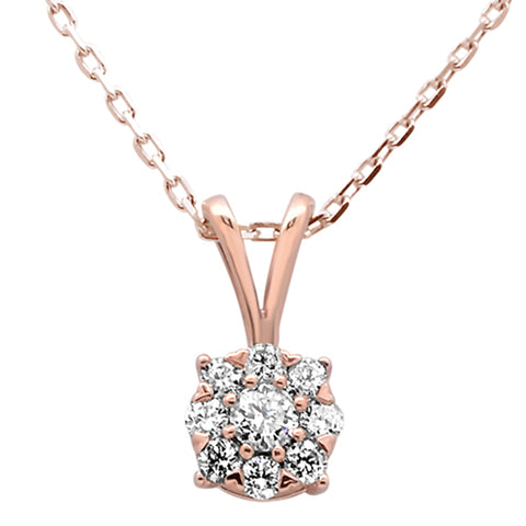 ".26ct 14k Rose Gold Diamond Solitaire Cluster Pendant Necklace 18"" Long"
