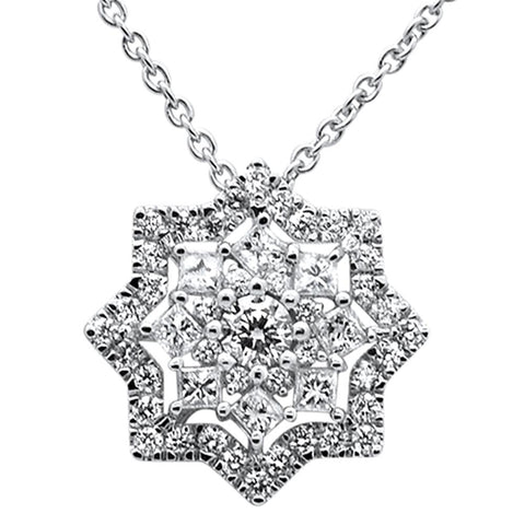 ".69ct 14k White Gold Diamond Star Solitaire Pendant Necklace 18"" Long"