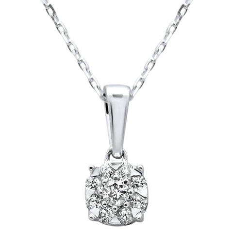 ".21ct 14k White Gold Diamond Pendant Solitaire Necklace 18"" Long"