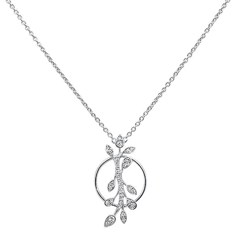 ".17ct 14k White Gold Diamond Designer Pendant Necklace 18"" Long"