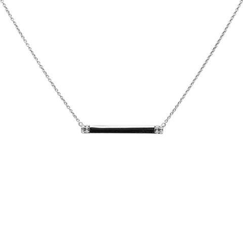 ".07ct 14K White Gold Diamond Bar Pendant Necklace 18"" Long"