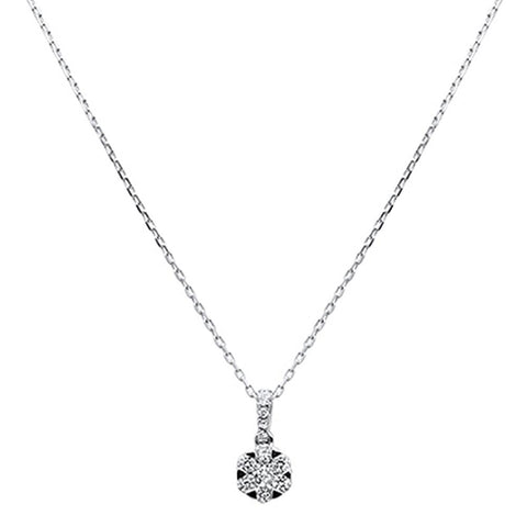 ".29ct 14K White Gold Diamond Solitaire Pendant Necklace 18"" Long"
