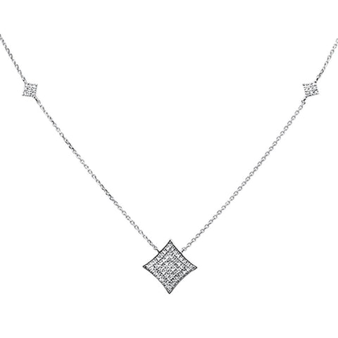 ".27ct 14k White Gold Diamond Modern Pendant Necklace 18"" Long"