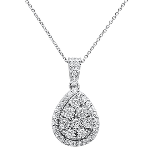 "1.00ct 14k White Gold Diamond Teardrop Solitaire Pendant Necklace 18"" Long"