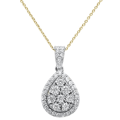 "1.03ct 14k Yellow Gold Diamond Pendant Necklace 18"" Long"