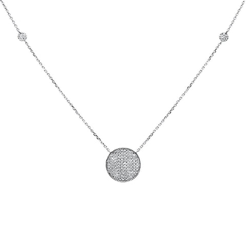 ".27ct 14k White Gold Diamond Micro Pave Circle Pendant Necklace 18"" Long"
