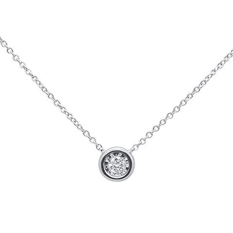 .10ct 14k White Gold Round Diamond Bezel Solitaire Pendant Necklace 18""