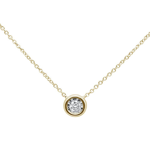 .10ct 14k Yellow Gold Diamond Bezel Solitaire Pendant Necklace 18""