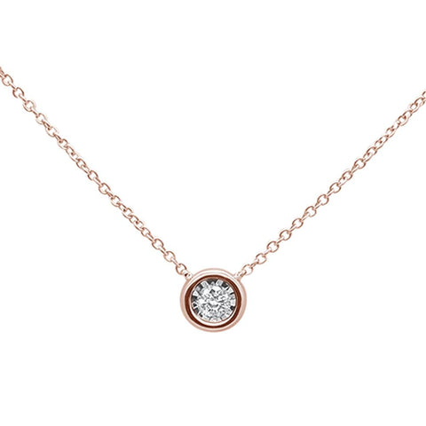 .1ct 14k Rose Gold Diamond Bezel Solitaire Pendant Necklace 18""