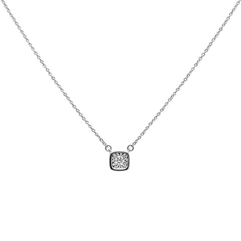 .10ct 14k White Gold Diamond Bezel Solitaire Pendant Necklace 18""