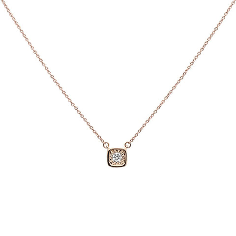 .10ct 14k Rose Gold Diamond Bezel Solitaire Pendant Necklace 18""