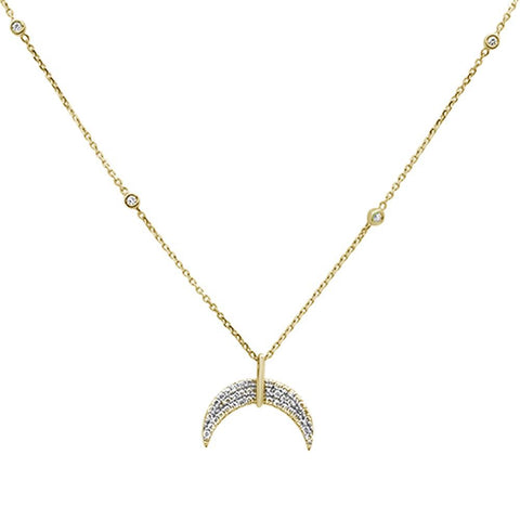 .21ct 14k Yellow Gold Crescent Moon Diamond Pendant Necklace 18""