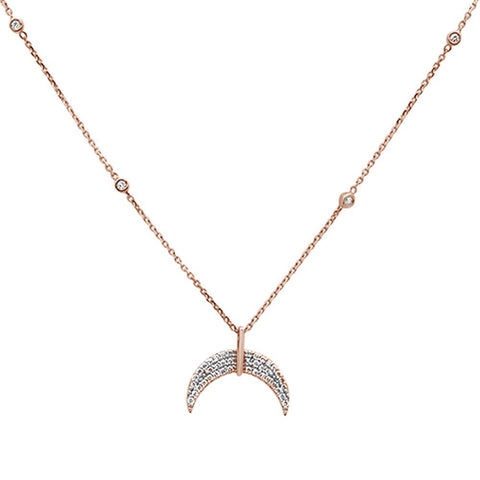 .20ct 14k Rose Gold Crescent Moon Diamond Pendant Necklace 18""