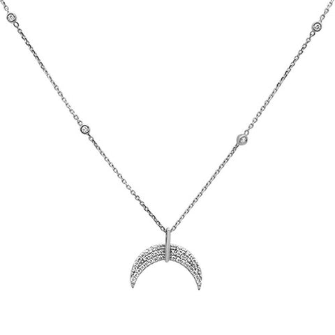 .21ct 14k White Gold Crescent Moon Diamond Pendant Necklace 18""