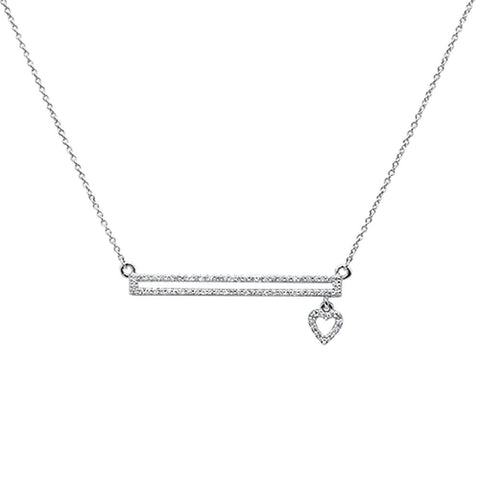 .18ct 14k White Gold Diamond Bar with Dangling Heart Pendant Necklace 18""