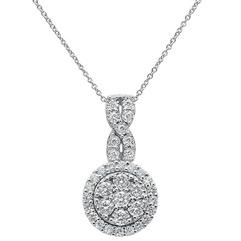 1.00ct 14k White Gold Diamond Infinity Round Halo Pendant Necklace 18""