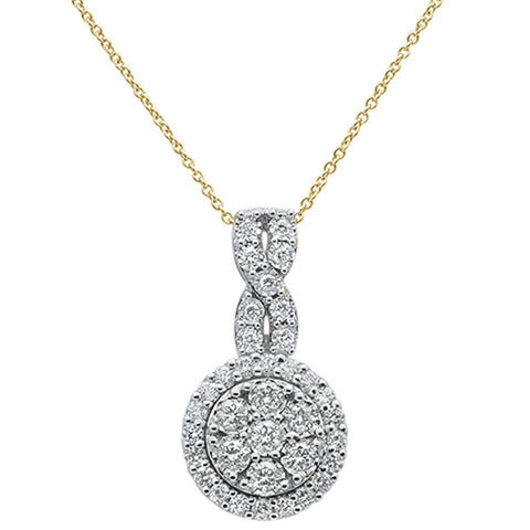 "1.00ct 14k Yellow Gold Diamond Pendant Necklace 18"" Long"