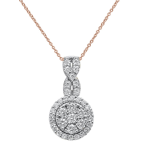 ".97ct 14k Rose Gold Diamond Round Pendant Necklace 18"" Long"