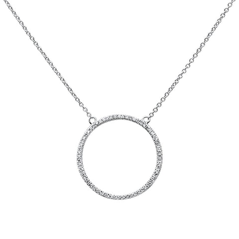 .19ct 14k White Gold Diamond Circle Trendy Pendant Layering Necklace 18""