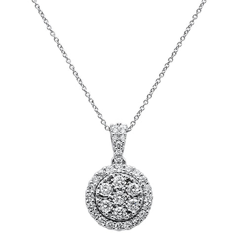 1.04ct 14k White Gold Halo Bezel Round Diamond Pendant Necklace 18""