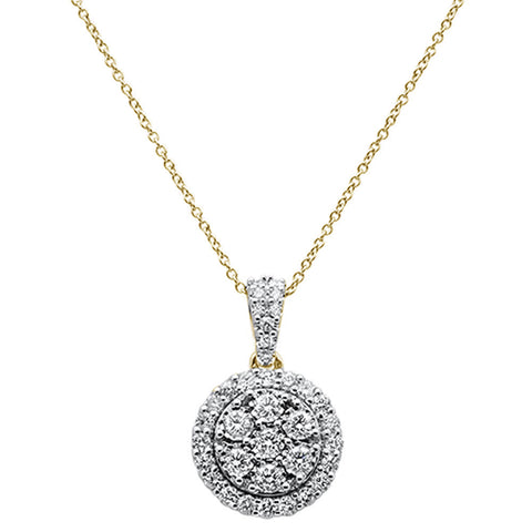 ".99cts 14k Yellow Gold Round Diamond Pendant Necklace 18"" Long"